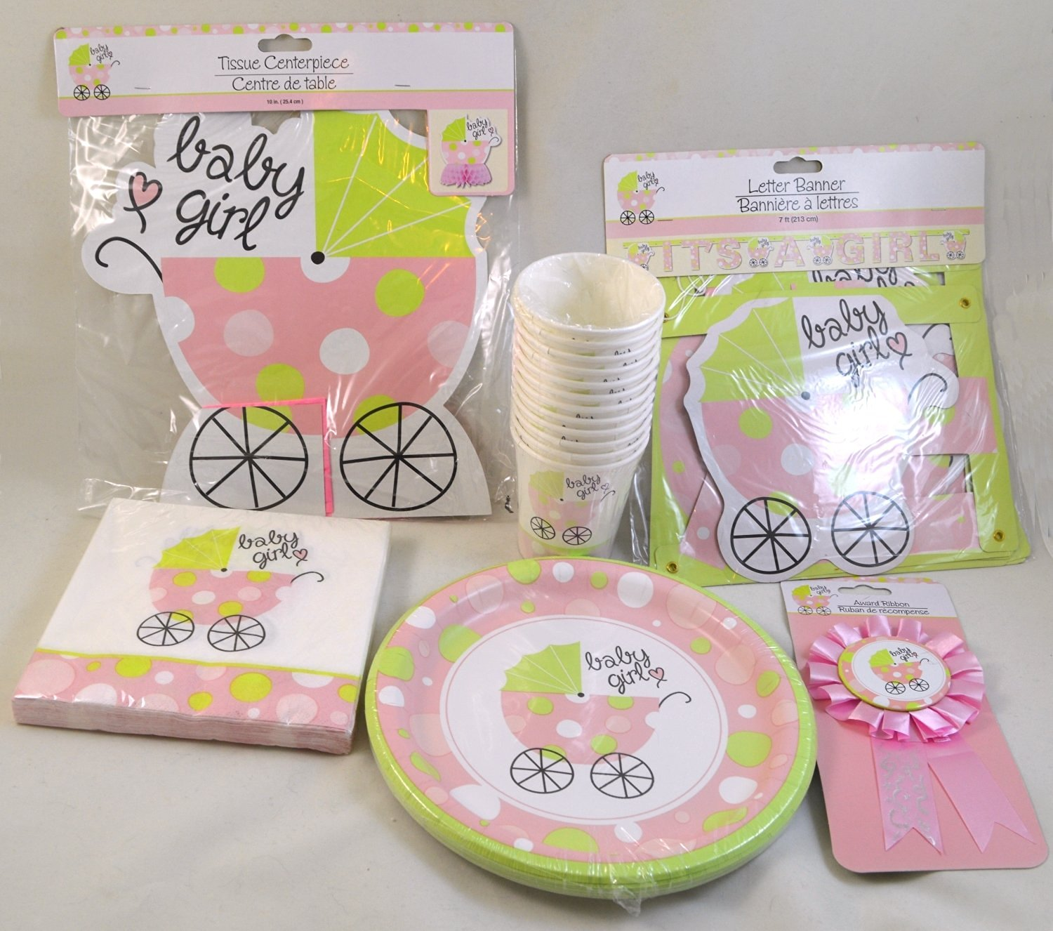 Baby Girl Baby Shower 6-Piece Party Pack with Place Setting for 12 Guests