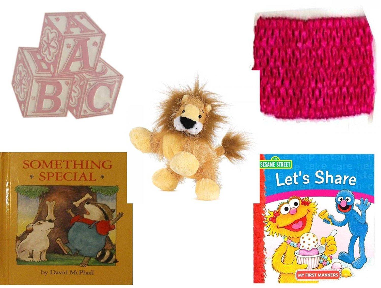 "Children's Gift Bundle - Ages 0-2 [5 Piece] - ABC Baby Blocks Cake Topper Pink Girl - Baby Crochet Headband Fuchsia - Ganz Lil'Kinz Lion Plush, 6.5"" - Something Special - Sesame Street Let's Share:"