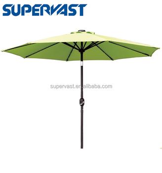 Outdoor Patio Led Solar Powered Aluminium Market Umbrella With Crank