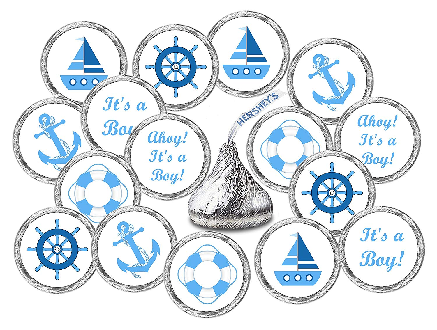 324 Nautical Blue Its a Boy Baby Shower Favors Stickers For Baby Shower Or Baby Sprinkle Party, Baby Shower Kisses Stickers, Baby Shower Blue Favors, Baby Shower Labels, Its a Boy Kisses