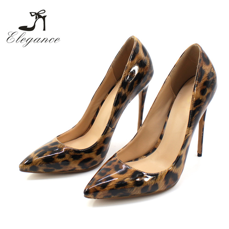 2018 Alibaba China Comfortable Ladies Patent Leopard Animal Print Pencil Fetish Stiletto High Heel Pumps Shoes Large Size