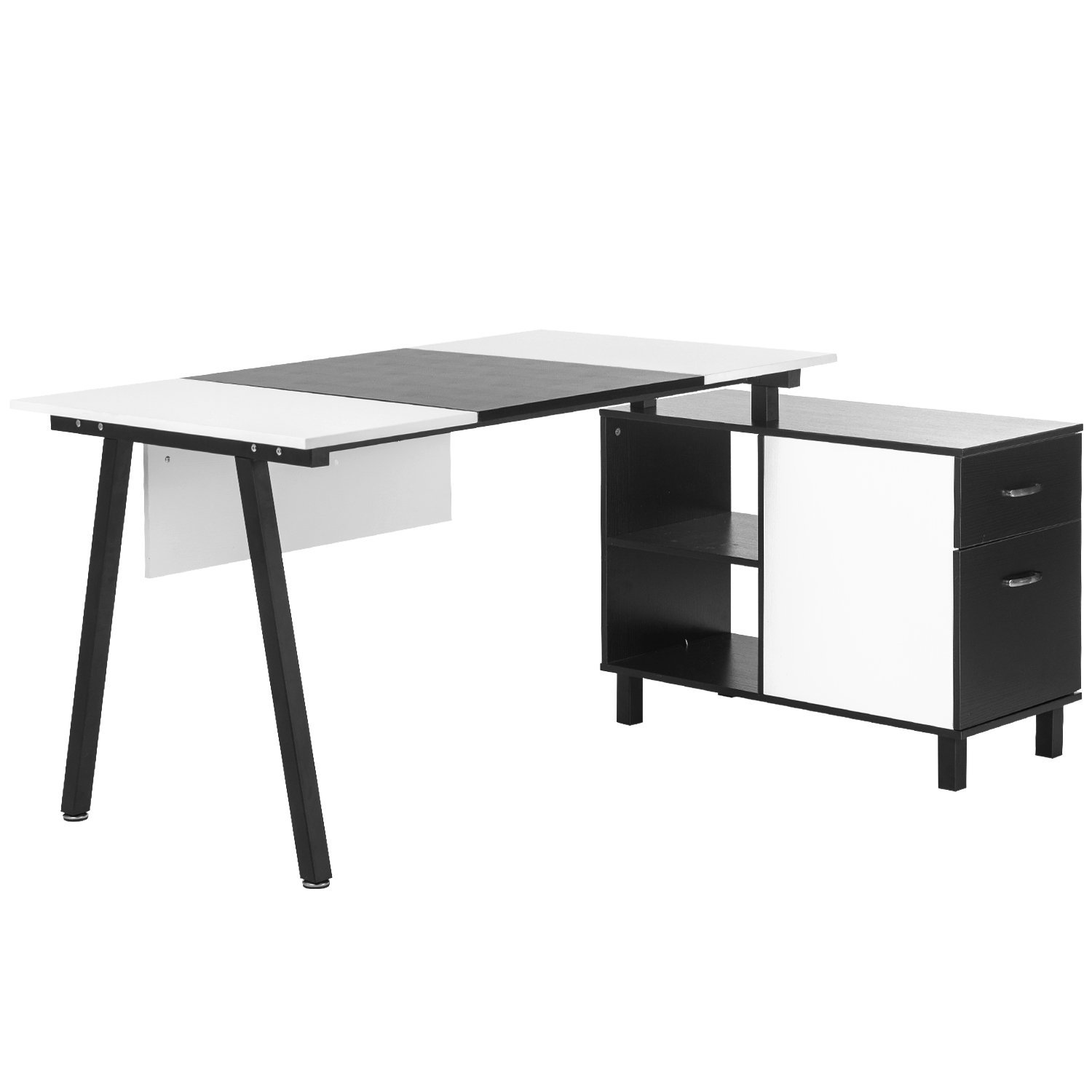 Merax L-Shaped Desk with Storage Cabinet Computer Desk Stylish Computer Desk Home and Office Desk Table (White (PVC Leather))