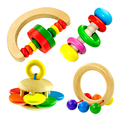 BabyWooden Bell Rattle Toy Handbell Musical Education Percussion Instrument