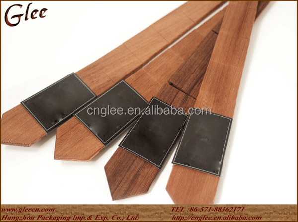 long size china supplier shiny light wood tie for man