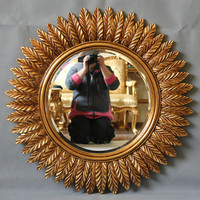 Resin Material Gold Color Sun Shape Decorative Wall Mirror with Frame