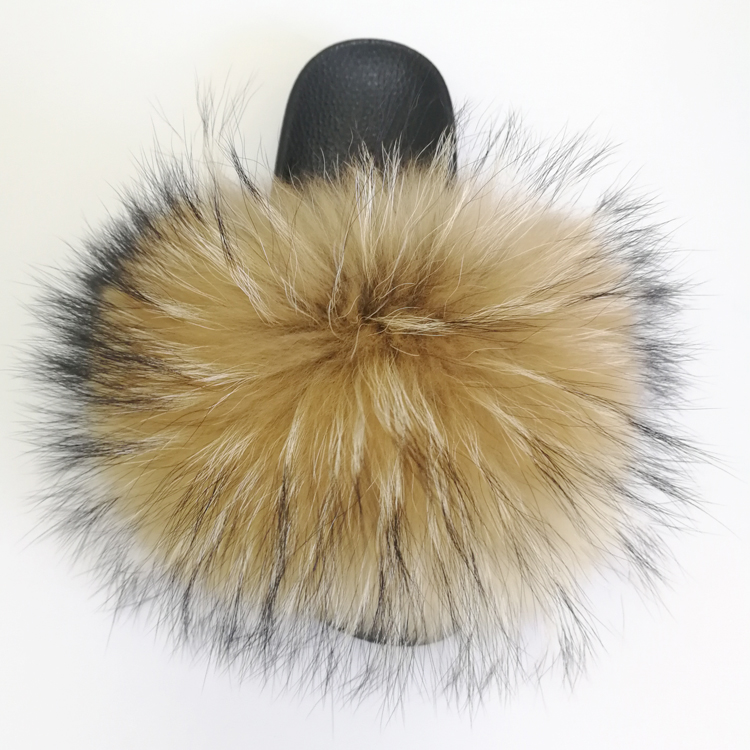 Wholesale Extra Fluffy Real Raccoon Fur Slides <strong>Slippers</strong> for Women