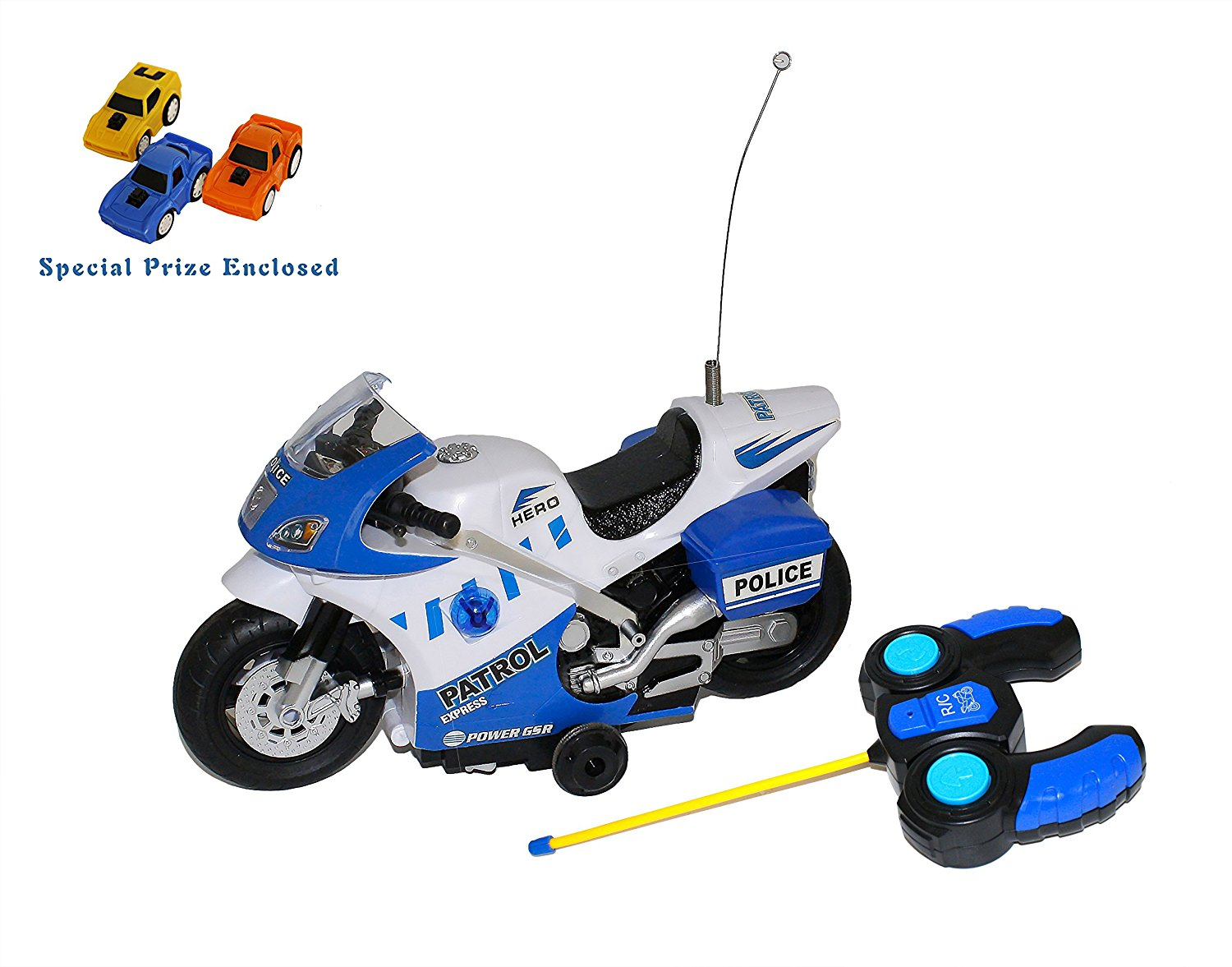 4 Channel RC Electric City Motorcycle, Police Patrol Remote Control Motor Bike with Lights & Sirens (colors may vary) FREE GIFT INCLUDED