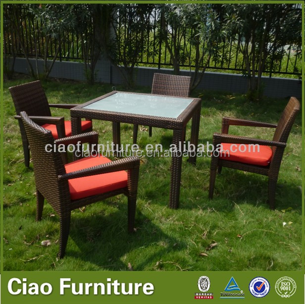 Outdoor rattan furniture table and chairs wicker dining set