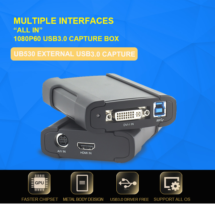 Dapat Menangkap Berbagai SD/HD/3G-SD Sumber Video USB 3.0 Pemantauan Video Capture Card