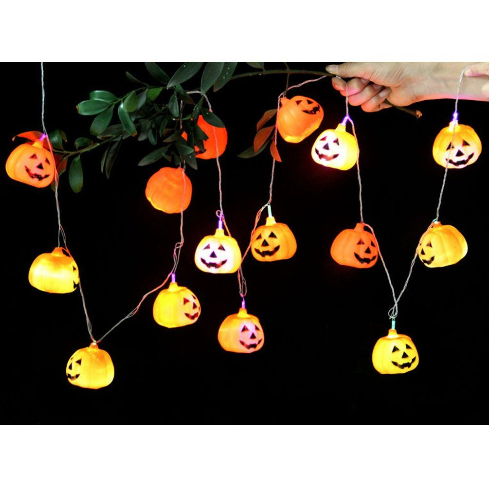 get quotations hooao 25m halloween decor lantern 16 led bulbs pumpkin light strings