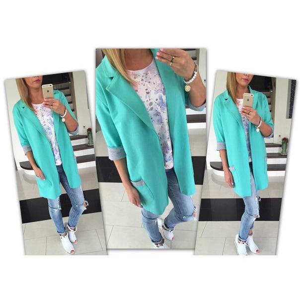 Новый естественный цвет свободного покроя женщины куртка широкий талией открыть стежка отложным воротником синий горошек пальто