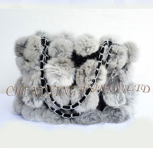 FREE SHIPPING CX-H-11B/X 2015 New Style Genuine Rabbit Ball Fur Fashion Bag