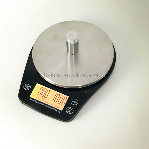 Original 3KG/0.1G Digital Kitchen Scale Food Coffee Weighing Scale Timer Back-Lit LCD Display Baking Cooking Scale