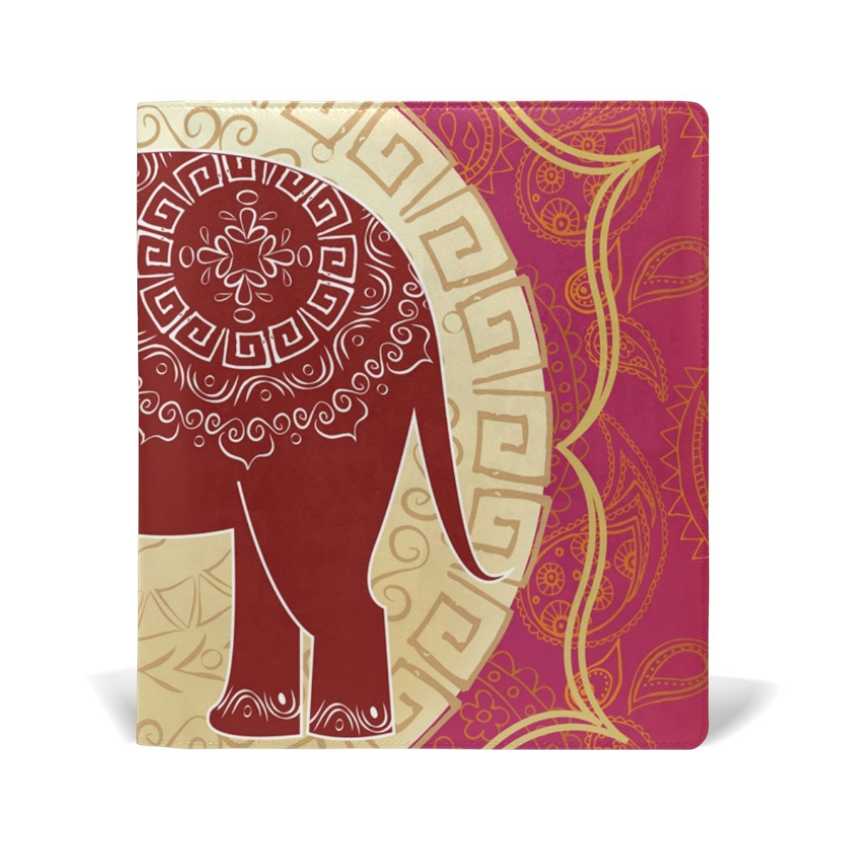 Sunlome Indian Elephant Pattern Stretchable PU Leather Book Cover 9 x 11 Inches Fits for School Hardcover Textbooks