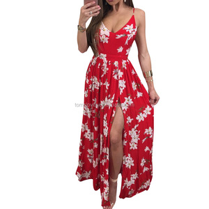 2017 Trendy Stylish women clothes sexy v neck backless high slit maxi red womens floral long frocks dress xxl