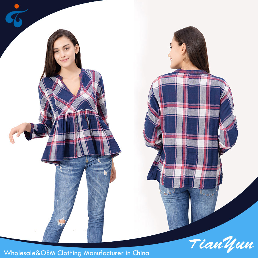 Good sealed wholesale spring long sleeve checked high end women elastic waist blouses