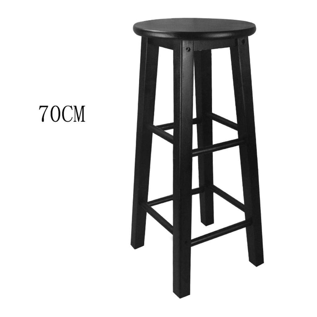 Mustbe strong Retro kitchen stools High Stool Round Bar Stools Wood Seat Breakfast Bar, All solid wood height 45cm/50cm/60cm/70cm/80cm for Kitchen Counter Bar, 70cm, 4,Simple Suave y fuerte