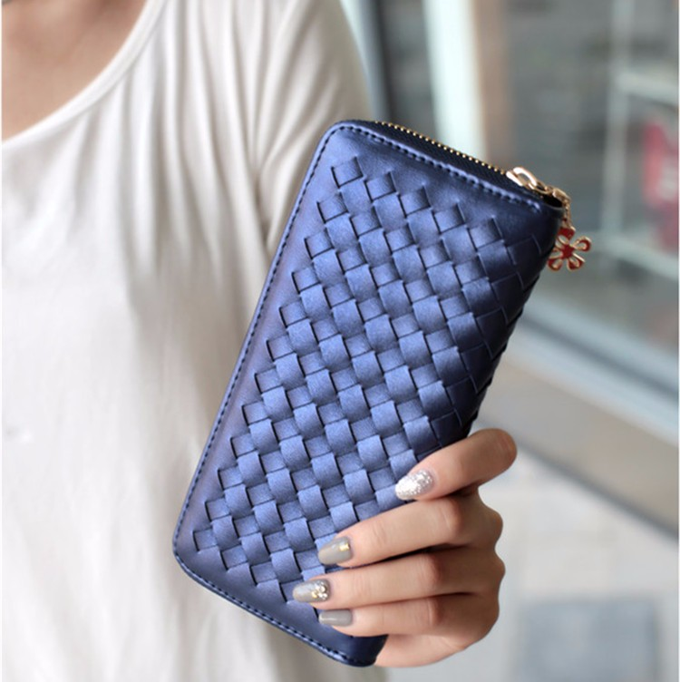 New Arrival Luxury Brand Leather Wallets Clutch Plaid Top Sheepskin Leather Purse