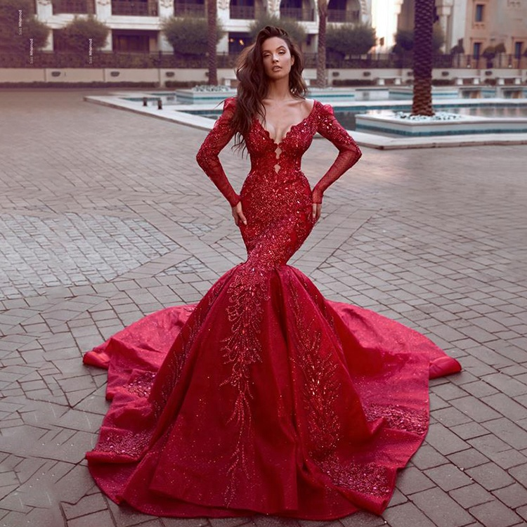 cd726dd5d4 Long Sleeve Lace Evening Dress Women Plunging V Neck Red Party Dresses  Heavy Beaded Mermaid Luxury Elegant Evening gown 2019