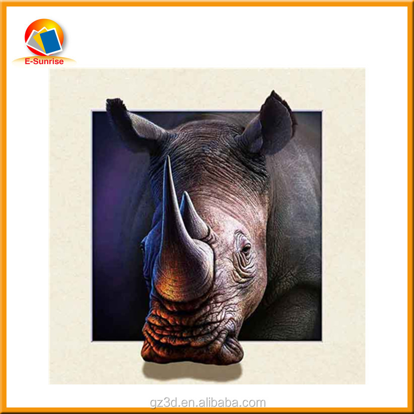 Inexpensive China factory supply lively 5d and 3d picture with rhinoceros animal iamge