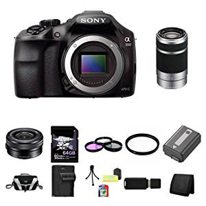 Sony A3000, ILCE-3000, ILCE-3000LB, 20. 1MP Interchangeable Lens Camera Black (Body) with Sony 16-50mm f/3.5-5.6 OSS Alpha E-mount Retractable Zoom Lens SELP1650 and Sony E 55-210mm F4.5-6.3 Lens for Sony NEX Cameras SEL55210 64GB Package 5