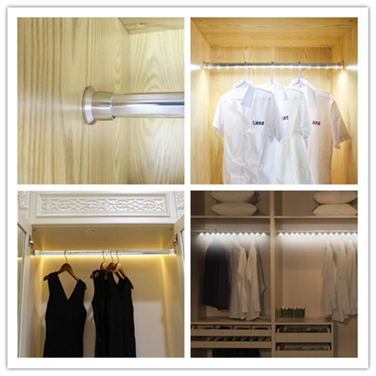 1000mm Aluminum LED Wardrobe Rod LED Wardrobe Hanger With Motion Sensor  Rechargeable LED Closet Light With