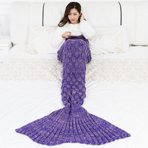 Variety of Colors and Sizes Wholesale Kids Adult 100% Acrylic Knit Crochet Mermaid Tail Plain Blanket