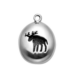 Antique silver plated engraved moose in disc round charm pendent