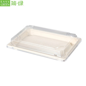 Easy Green biodegradable disposable taka away paper to go sushi bento box with lid