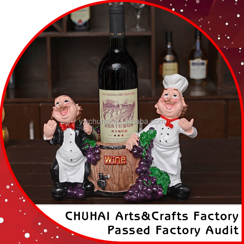 Handmade chef resin statue wine bottle holder decorative polyresin statue