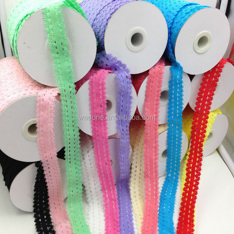100 yards/lot High Quality 7/8 Frilly Edges Lace Elastic Ribbon Lace Trim Webbing for Baby Headband Headwear 21Colors Available, As the picture;21colors stock