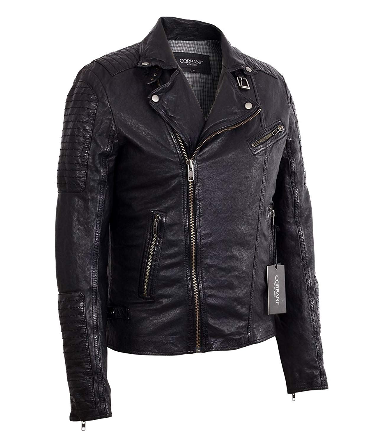 6d908afb57387 Get Quotations · Corbani Mens Asymmetrical Biker Vintage Black Lambskin  Real Leather Jacket