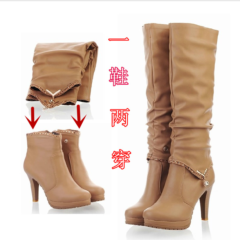2015 Shoes winter fashion two ways high-heeled boots thin heels boots female long high-leg 32 33 40 41 42 size