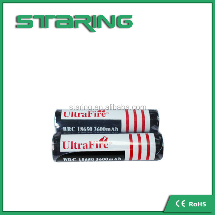 Authentic ULtrafire 18650 3600mah li-ion cell 3.7v BRC18650 rechargeable battery