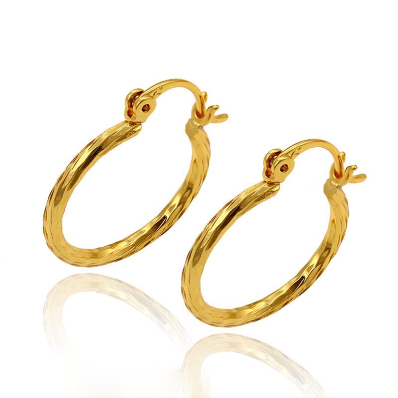 Xuping fake jewellery 24 karat Arab gold plated copper alloy hoop earrings  for women 094699cbf9