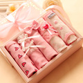 5pcs Latest New Gift Package Sexy Briefs Sweet Pink Quality Cotton Panties Women Underwear Brief Sets