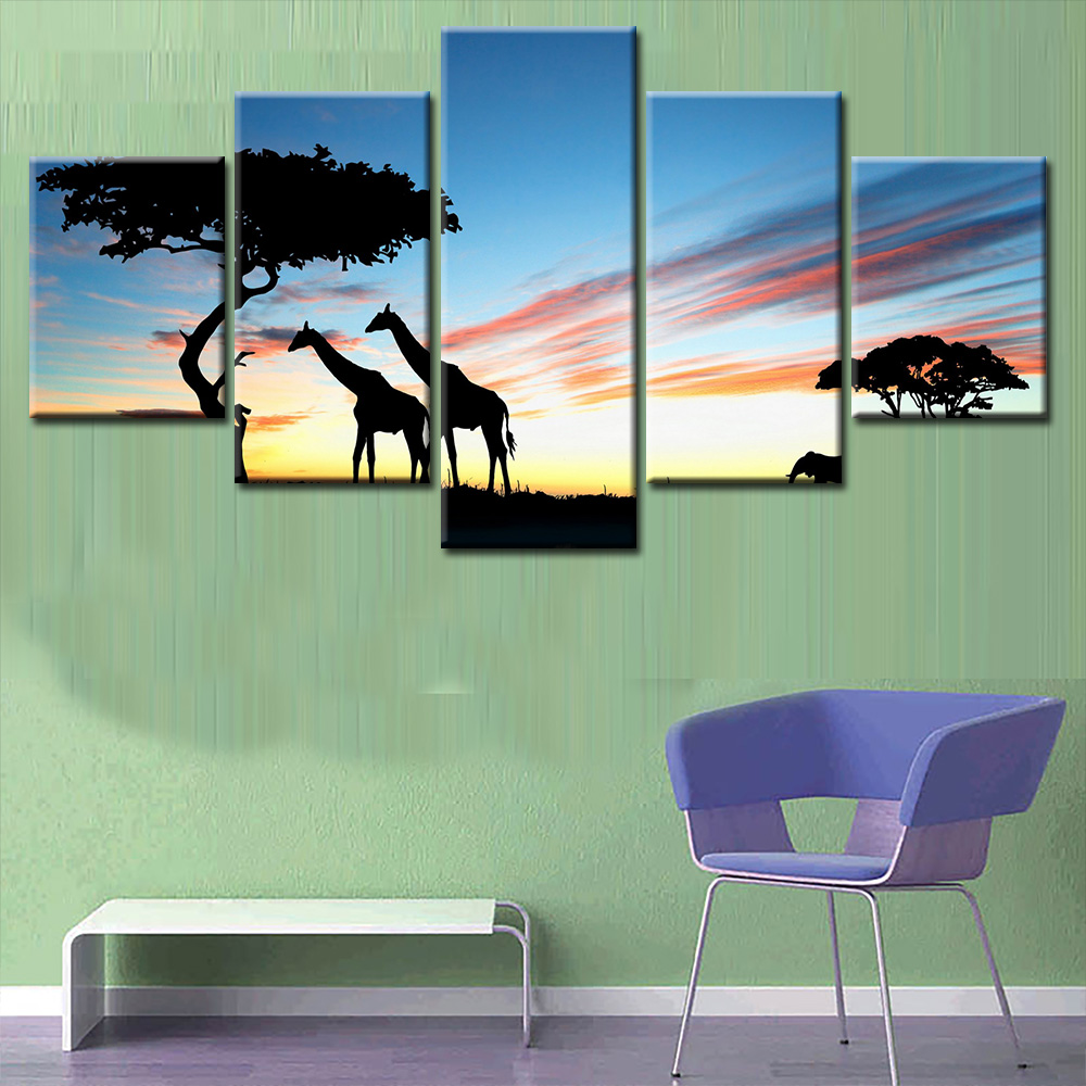 PICTURE PRINT PHOTO AFRICAN LANDSCAPE AND GIRAFFE ON LARGE CANVAS WALL ART