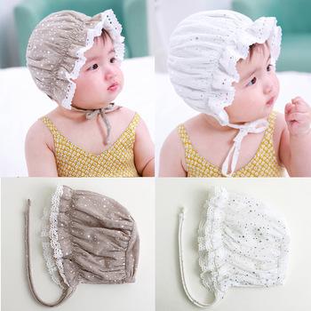76198ef7eee Summer Baby Cotton Hat Lace-up Beanie Adjustable Cap Newborn Sun Hat