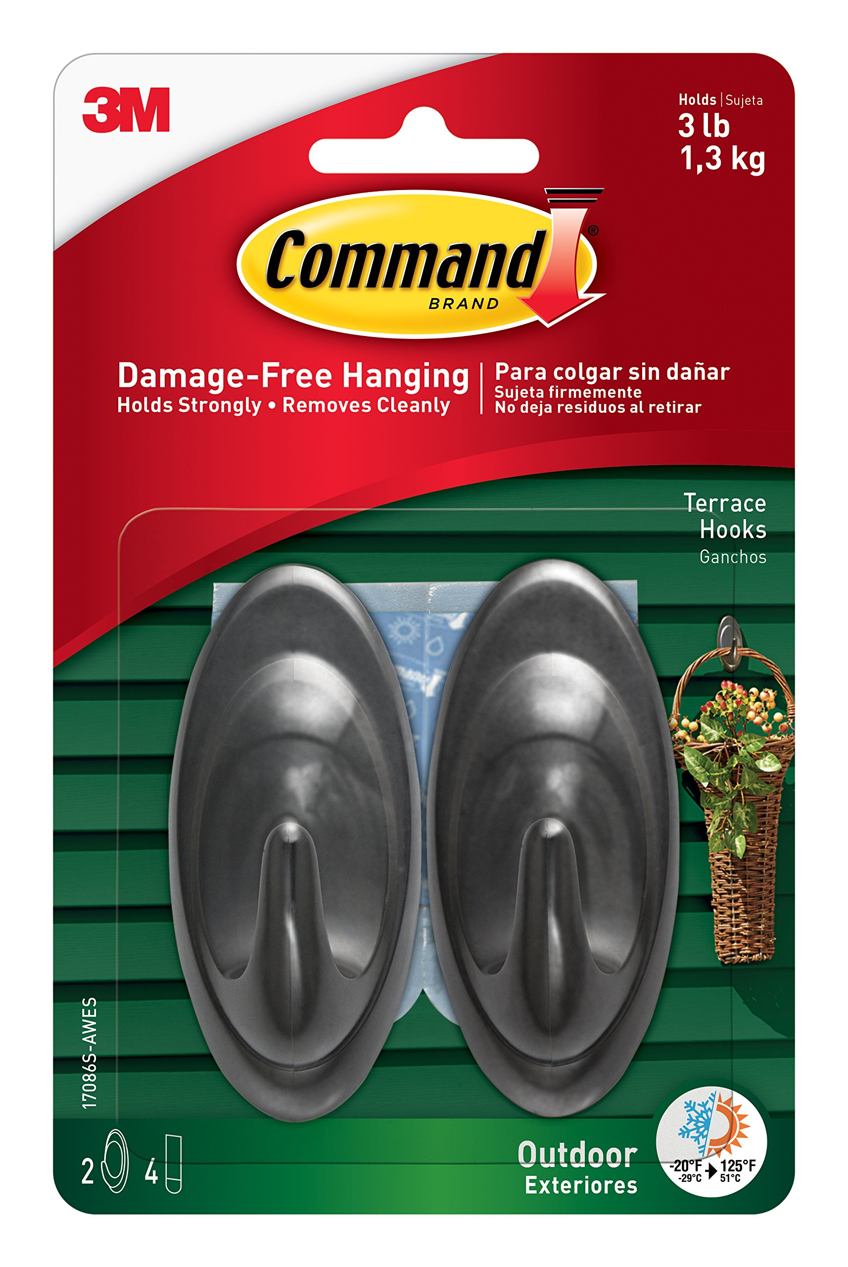 Command Outdoor Terrace Hook, Medium, Slate, 2-Hooks (17086S-AWES)