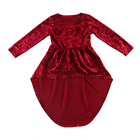 burgundy velvet long sleeve girl one piece dress latest kids clothing girls party dresses