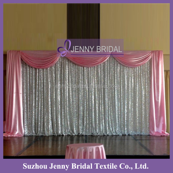 BCK067 Satin Valance Silver Shiny Sequin Wedding Backdrop Curtains