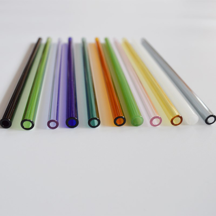 High Quality Colorful decorative long drinking borosilicate glass straw