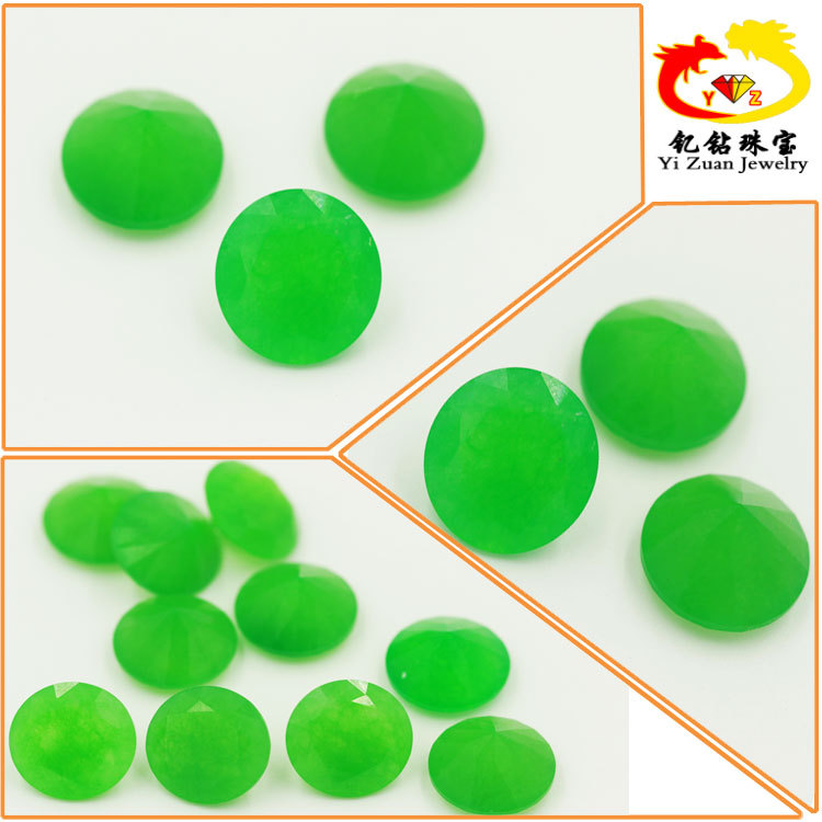 Natural Round Cut Dyed Color Loose Green Faceted Jade Beads
