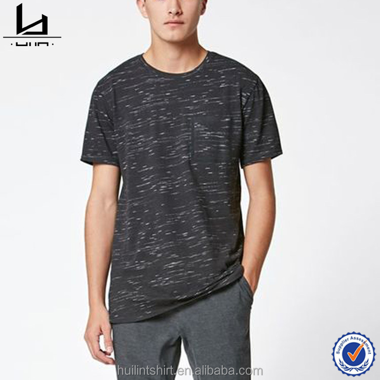 Dongguan city huilin apparel.co.ltd crew neck mens t shirt with chest patch pocket