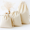 Natural Color Plain Drawstring Cotton Packaging Bags For Gifts Or Promotion With Double Cotton Drawstring Ropes