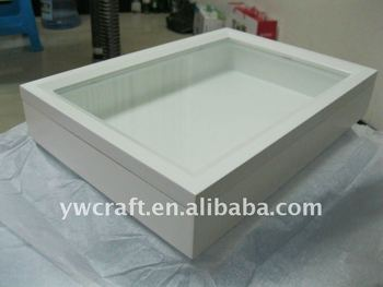 magnetic white wood shadow box frame