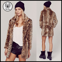 2015 Winter Long Leopard Print Faux Fur Coats for Women