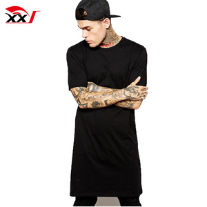 extreme long line t shirt men blank t-shirts for screen printing 95% cotton 5% elastane t shirt indian clothing wholesale