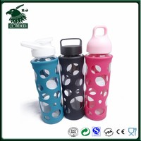 BPA FREE Heat resistant glass drinking water bottle with silicone cover