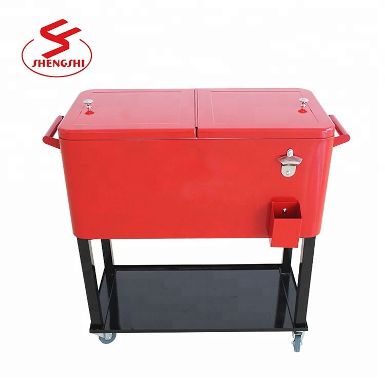 Metal Rolling Patio Mobile Wine Ice Chest Cart Large Cooler Box 73l